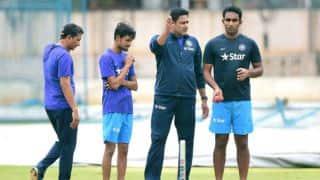 Photo: Anil Kumble, Sanjay Bangar training Jayant Yadav and Shahbaz Nadeem