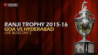 GOA 47/1   Live Cricket Score, Goa vs Hyderabad, Ranji Trophy 2015-16, Group C match, Day 2 at Porvorim: End of day's play