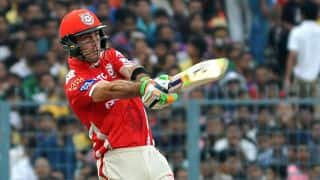Maxwell dismissed for 11; KXIP 60/3 against SRH in IPL 2015 Match 48