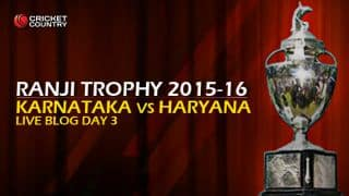 KAR 9/0   Live cricket score, Karnataka vs Haryana, Ranji Trophy 2015-16, Group A match, Day 3 at Mysore: At stumps, KAR need 364 runs to win