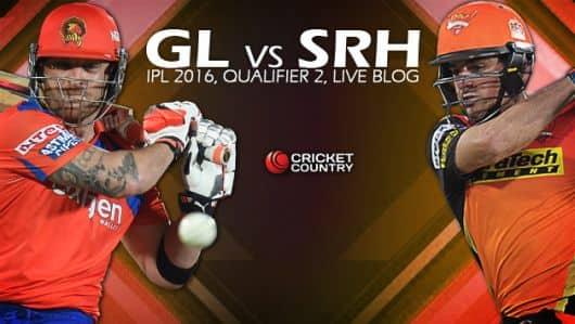 SHR 163/6, 19.2 overs | Live Cricket Score Gujarat Lions (GL) vs Sunrisers Hyderabad (SRH), IPL 2016, Qualifier 2 at Delhi: SRH win by 4 wickets