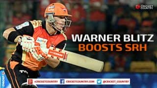 David Warner powers Sunrisers Hyderabad to 192 for 7 against Chennai Super Kings in match 34 of IPL 2015