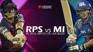 MI 161/2 in Overs 18.3 | Live Cricket Score Rising Pune Supergiants (RPS) vs Mumbai Indians (MI), IPL 2016, Match 29 at Pune: MI win by 8 wickets