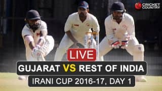 Live Cricket Score: Irani Cup 2016-17, Gujarat vs Rest of India, Day 1: GUJ 300/8 at stumps