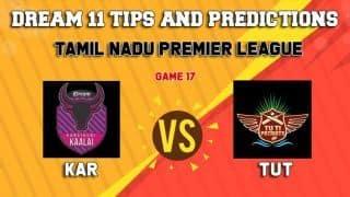 Dream11 Team Karaikudi Kaalai vs TUTI Patriots Match 17 TNPL 2019 TAMIL NADU T20 – Cricket Prediction Tips For Today's T20 Match KAR vs TUT at Dindigul