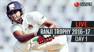 LIVE Cricket Score Ranji Trophy 2016-17, Day 1, Round 3