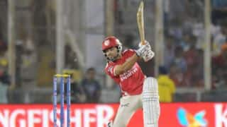 Manan Vohra dismissed for Kings XI Punjab in chase of 164 against Kolkata Knight Riders in IPL 2014 Qualifier 1