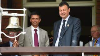 Rahul Dravid rings the bell at Lord's to indicate start of play in 2nd Test between India and England