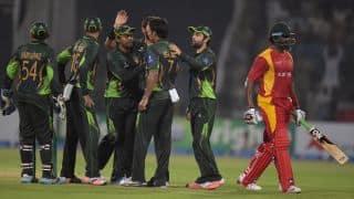 Hamilton Masakadza dismissed for 73 by Shoaib Malik against Pakistan in 1st ODI at Lahore