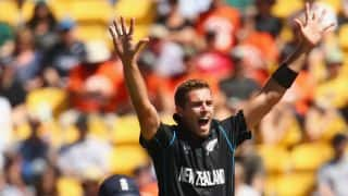 Tim Southee's 7/33 cleans out England for 123 against New Zealand in ICC Cricket World Cup 2015 Pool A Match 9 at Wellington