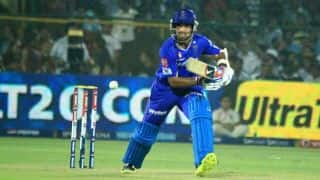 Rajasthan Royals (RR) vs Kings XI Punjab (KXIP), IPL 2014: Ajinkya Rahane run out for 13