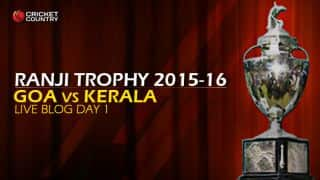 KER 224/5   Live cricket score, Goa vs Kerala, Ranji Trophy 2015-16, Group C match, Day 1 at Porvorim: Stumps