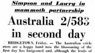 Bill Lawry and Bob Simpson register Australia's highest for the opening wicket