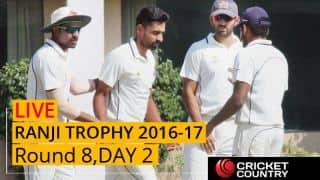 Live Cricket Score Ranji Trophy 2016-17, Day 2, Round 8