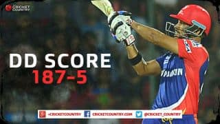 Delhi Daredevils score 187/5 against Royal Challengers Bangalore in IPL 2015