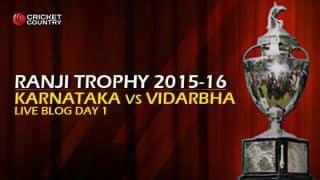 Live Cricket Score Karnataka vs Vidarbha, Ranji Trophy 2015-16 Group A match at Bengaluru