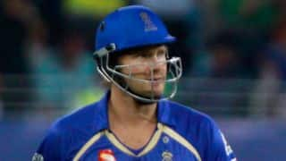 Shane Watson dismissed for 28 against Mumbai Indians in Match 32 of IPL 2015