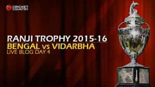 VID 191, target 297 │ Live Cricket Score, Bengal vs Vidarbha, Ranji Trophy 2015-16, Group A match, Day 4 at Kolkata: Hosts win by 105 runs