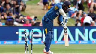 Kumar Sangakkara is bowled against Afghanistan in ICC Cricket World Cup 2015
