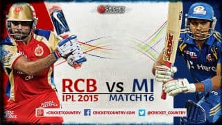 Live Cricket Score, Royal Challengers Bangalore vs Mumbai Indians, IPL 2015 Match 16 at Bangalore, RCB 191/7 in 20 overs: MI win by 18 runs