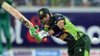 Shoaib Malik run out for 7 against Zimbabwe in 2nd T20I at Lahore