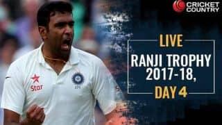 Live Cricket Score, Ranji Trophy 2017-18, Round I, Day 4