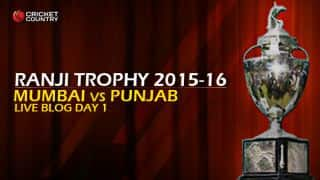 Mumbai 103/2   Live Cricket Score, Mumbai vs Punjab, Ranji Trophy 2015-16, Group B match, Day 1 at Mumbai: End of day's play