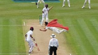 Trent Boult takes a flying catch against West Indies