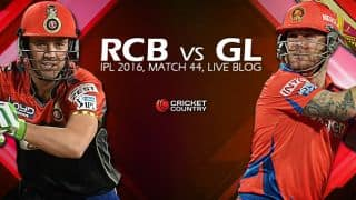 GL 104, 18.4 Overs, Live Cricket Score Royal Challengers Bangalore (RCB) vs Gujarat Lions (GL), IPL 2016, Match 44 at Bengaluru: RCB beat GL by 144 runs!