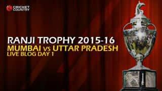 MUM 407/4 | Live cricket score, Mumbai vs Uttar Pradesh, Ranji Trophy 2015-16, Group B match, Day 1 at Mumbai; Stumps