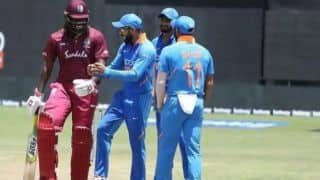 India vs west Indies: Indian Skipper Virat Kohli dances with chris gayle in rain affected ODI