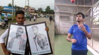 PHOTO: Beautiful sketch of Dhoni, Kohli by a differently abled fan