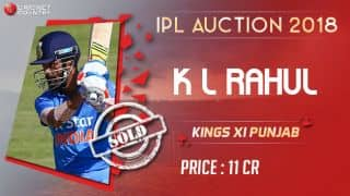 IPL Auction 2018: KL Rahul sold to Kings XI Punjab (KXIP) for INR 11 crores