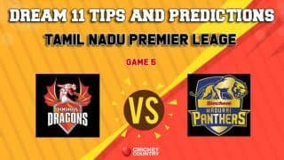 Dream11 Team Dindigul Dragons vs Siechem Madurai Panthers Match 5 TNPL – Cricket Prediction Tips For Today's T20 Match DIN vs MAD at ICL Sankar Nagar Ground, Trunelveli