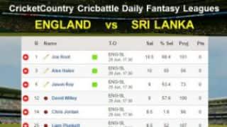 CricketCountry Cricbattle Daily Fantasy Cricket League Tips: England vs Sri Lanka on June 29
