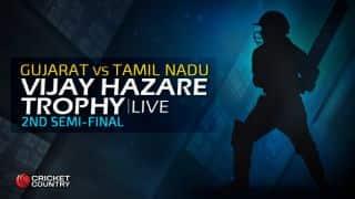 TN 217 in overs 47.3, Live Cricket Score, Vijay Hazare Trophy 2015-16, Gujarat vs Tamil Nadu, 2nd semi-final at Alur: Gujarat win by 31 runs