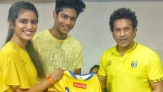 Tendulkar meets internet sensation Priya Varrier during ISL match