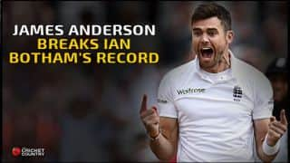 James Anderson becomes leading Test wicket-taker for England during 1st Test against West Indies at North Sound