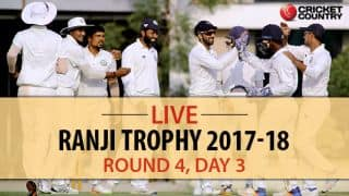 Live Cricket Score, Ranji Trophy 2017-18, Round 4, Day 3