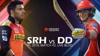 DD 150/3, 18.1 overs | Live Cricket Score Sunrisers Hyderabad (SRH) vs Delhi Daredevils (DD), IPL 2016, Match 42 at Hyderabad: DD win by 7 wickets