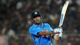 How many times has MS Dhoni finished a match with six?