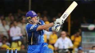 Shane Watson dismissed for 45 by Akshar Patel against Kings XI Punjab in Match 18 of IPL 2015