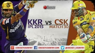 Live Cricket Score Kolkata Knight Riders vs Chennai Super Kings, IPL 2015, Match 30: KKR win by 7 wickets