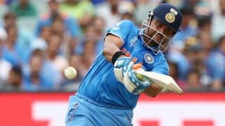 Suresh Raina dismissed for 22 by Dwayne Smith against West Indies in ICC Cricket World Cup 2015