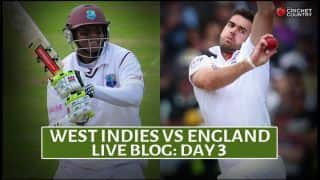 Live Cricket Score West Indies vs England 2015, 1st Test at Antigua Day 3, Eng 116/3 in 38 overs: Stumps called on Day 3