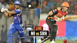 LIVE IPL 2017 Score, Mumbai Indians (MI) vs Sunrisers Hyderabad (SRH) IPL 10, Match 10: MI win by 4 wickets