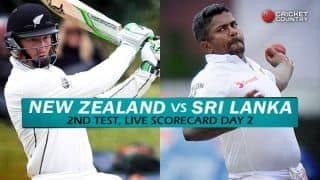 Live Cricket Scorecard: New Zealand vs Sri Lanka 2015-16, 2nd Test at Hamilton, Day 2