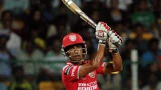 Wriddhiman Saha is dismissed for 17 in Kings XI Punjab vs Chennai Super Kings in IPL 2015 Match 53 at Mohali