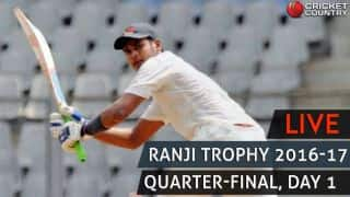 Live Cricket Score Ranji Trophy 2016-17, Quarter-final, Day 1: Siddhesh Lad scores fourth First-Class ton