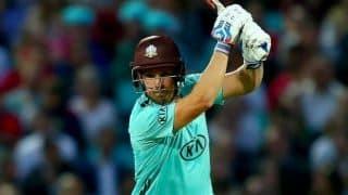 Vitality T20 Blast: Aaron Finch's 53-ball 102* keeps Surrey hoping